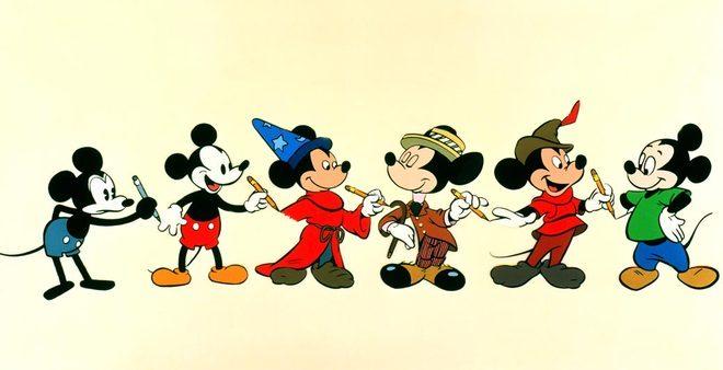 evolução da ilustração de mickey mouse